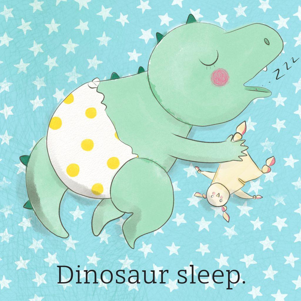 'Dinosaur sleep' by Amie Sabadin