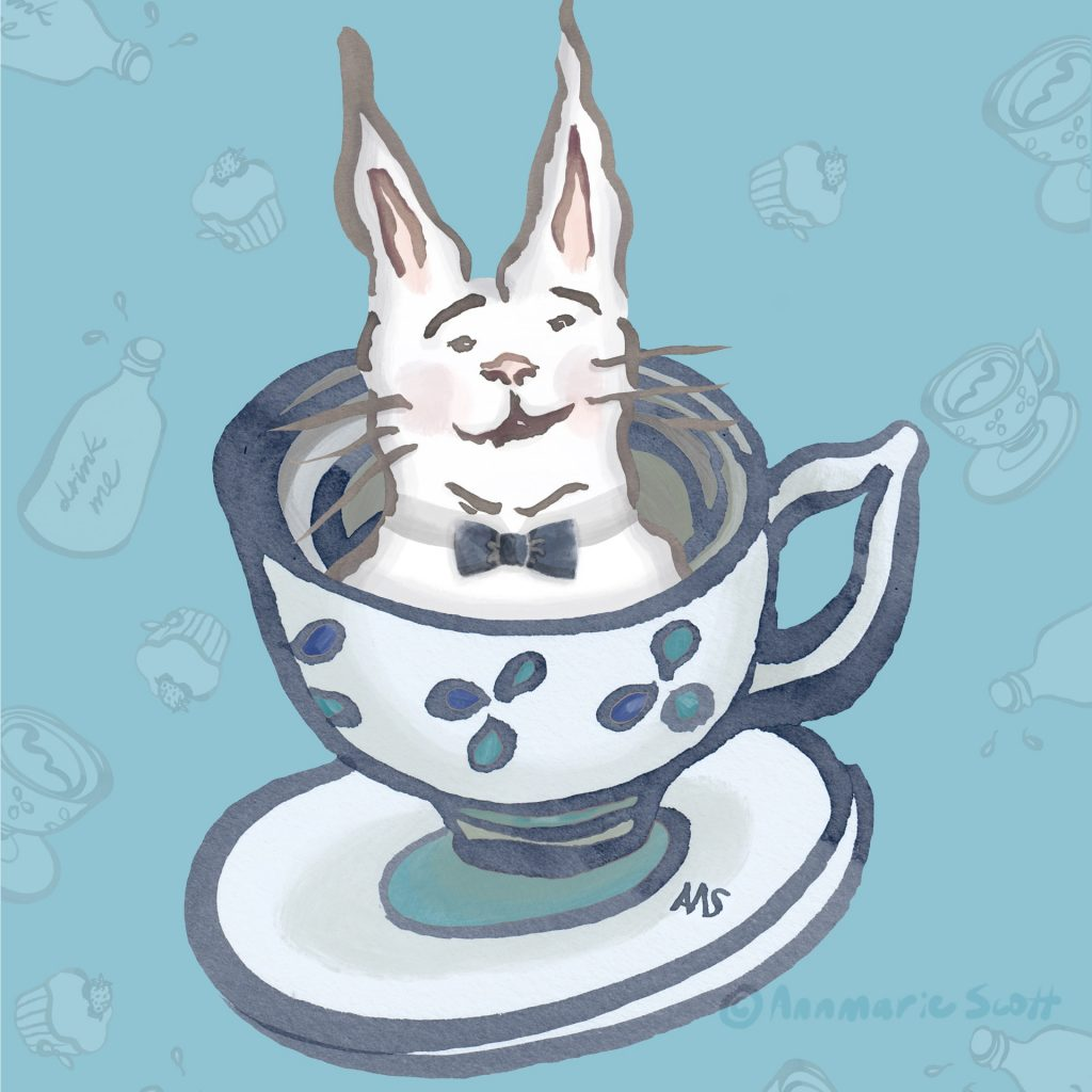'Drink me - Tea with the White Rabbit' by Annmarie Scott
