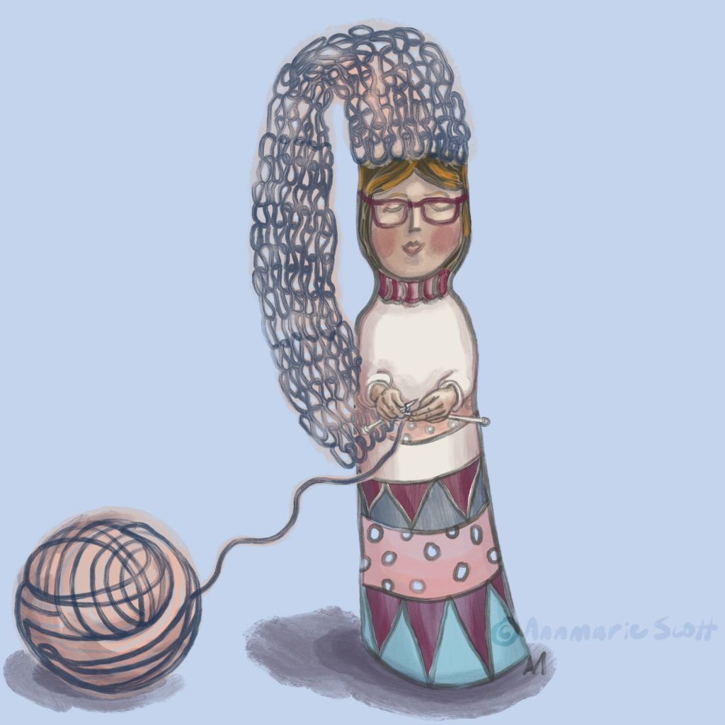 'Knitting Nancy - Knitting doll' by Annmarie Scott