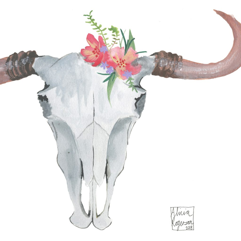'Watercolour Floral Skull' by Alicia Rogerson