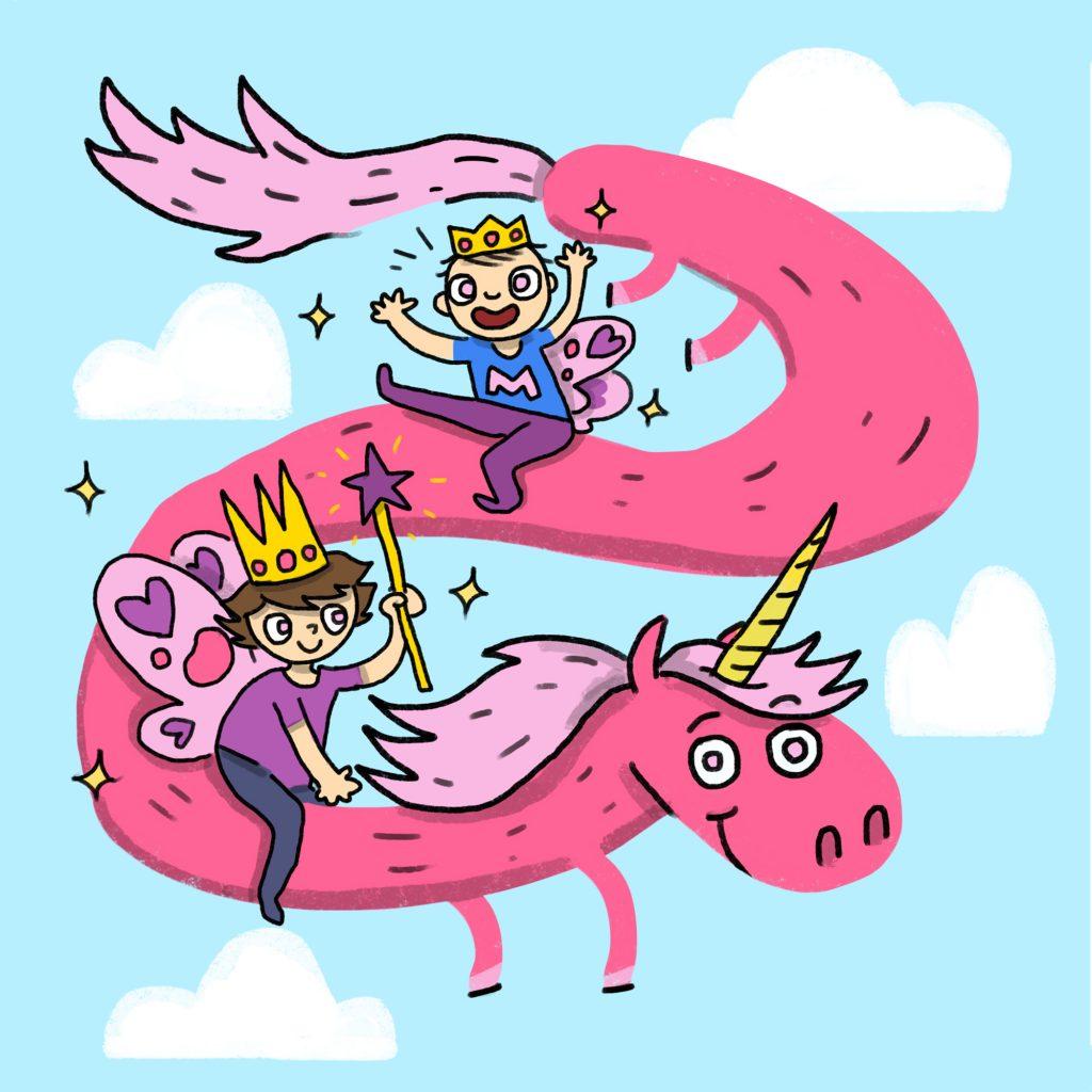 'Pink Unicorn Birthday Card' by Arthur Hamer
