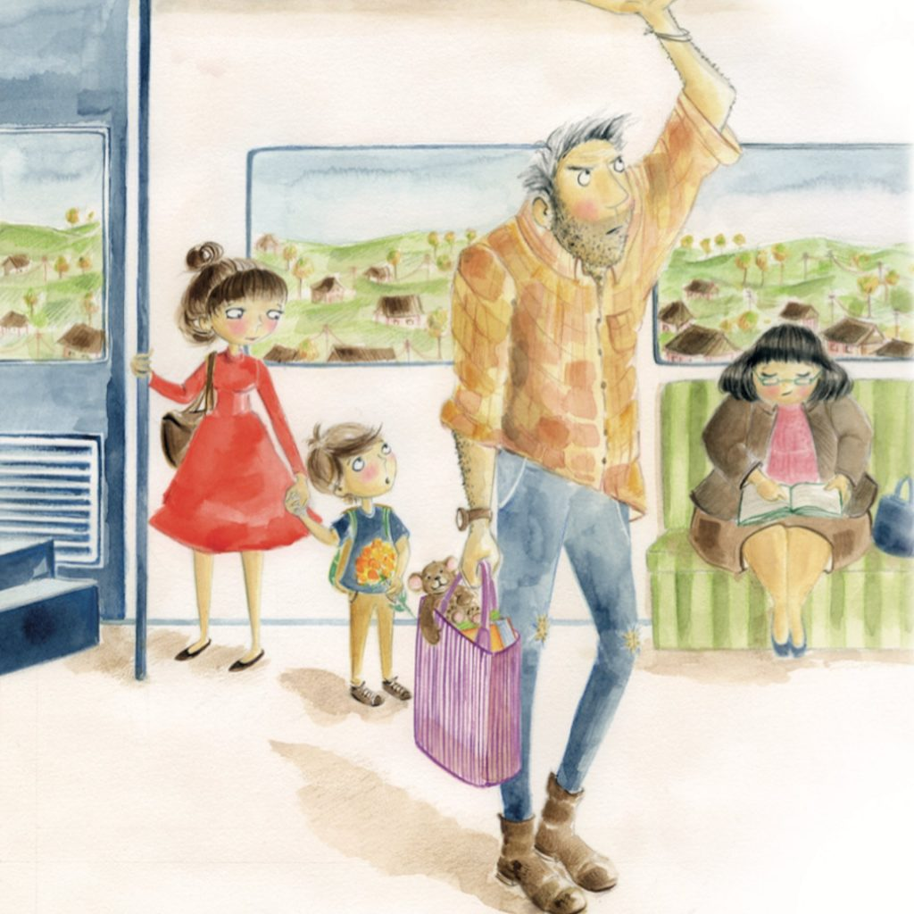 'Man so tall' (from 'Visiting You' EK Books Rebecka Sharpe Shelberg, illustrated by Andrea Edmonds