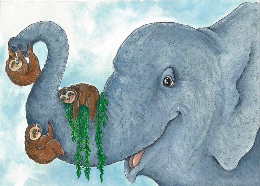 Elephant & Sloths by Meg Hewick