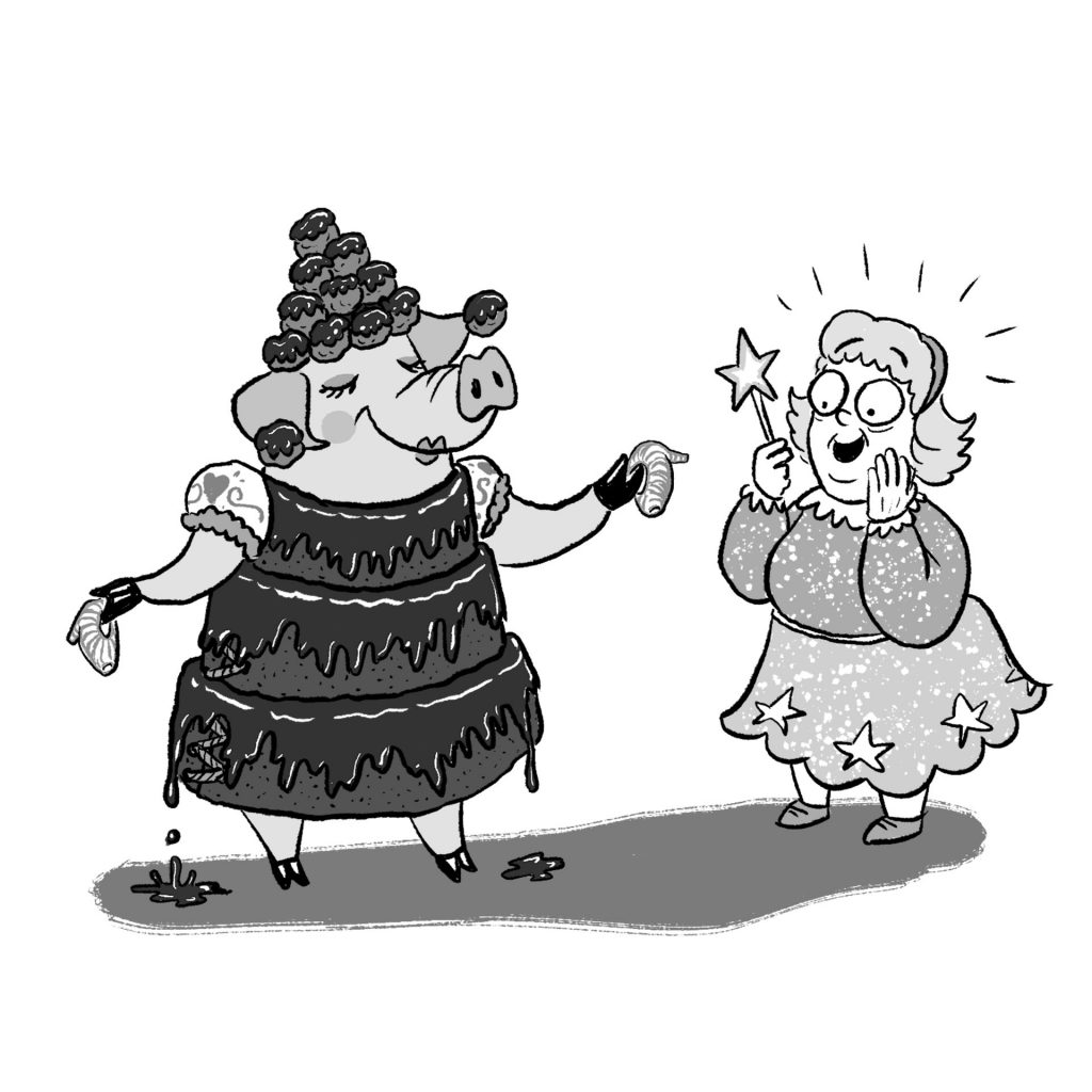 'Pigerella and the Fairy Godmother' from Total Quack Up!, 2018, illustrated by James Foley