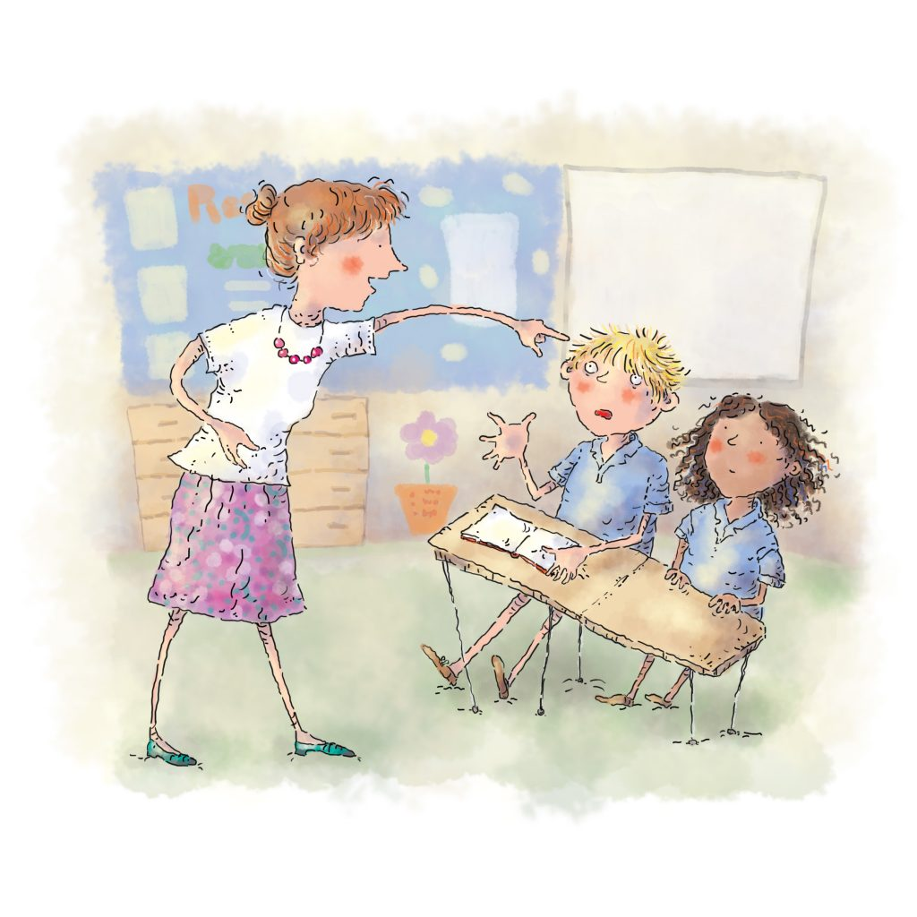 'Grammar Activity Book' cover illustration by Janice Bowles