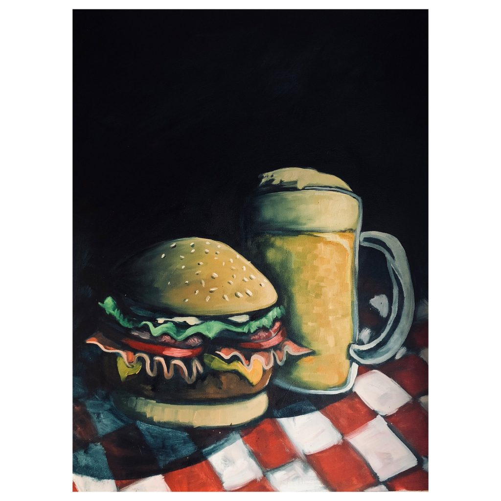 'Burger and Beer (thinking Caravaggio)' by Liam Waldie
