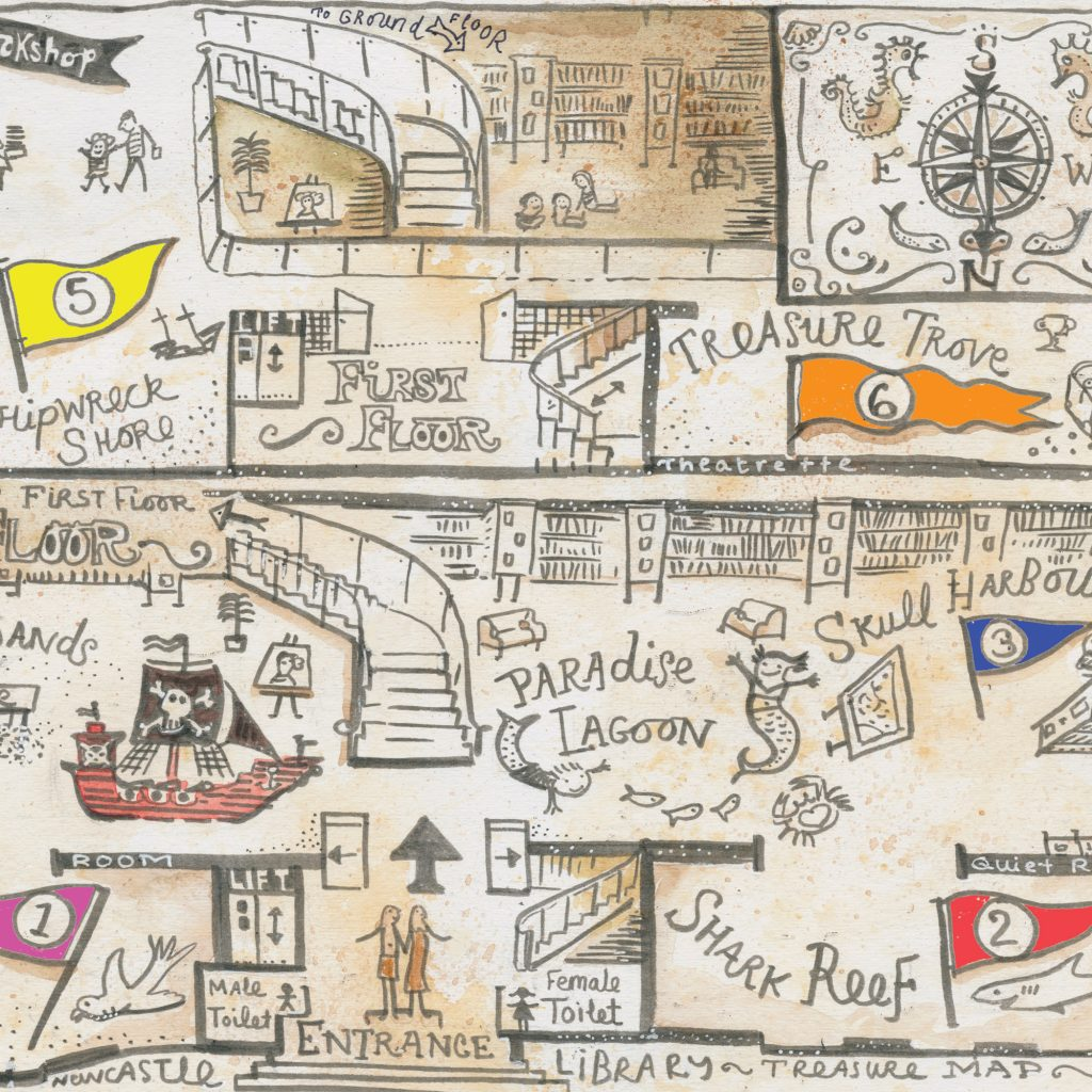 Liz Anelli Library Treasure Map illustration