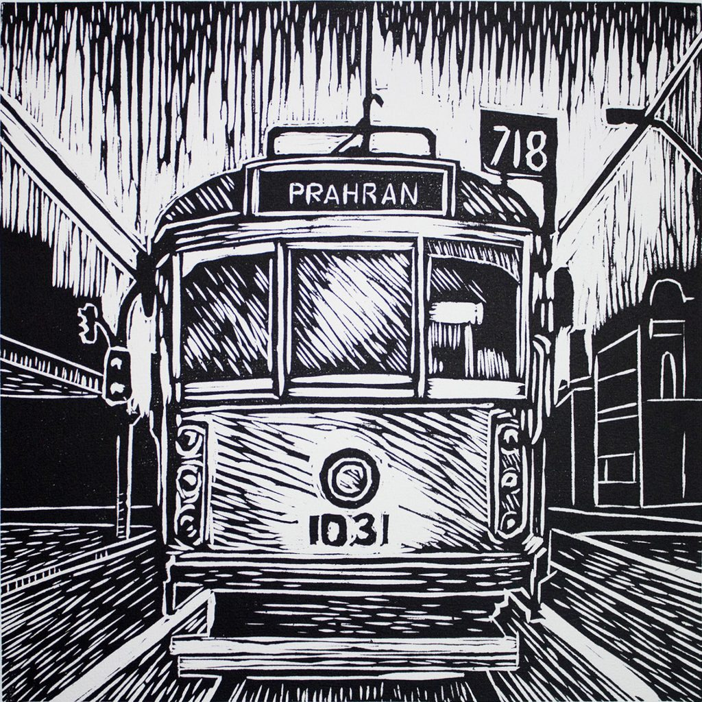'Melbourne Tram' lino cut print by Matthew Broughton