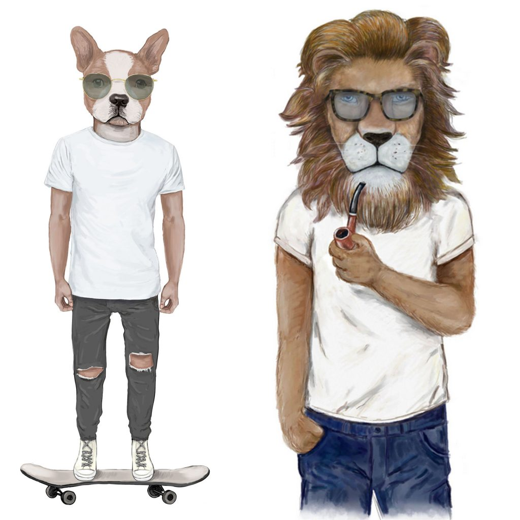 'Skater Dog and Hipster Lion' by Matthew Broughton