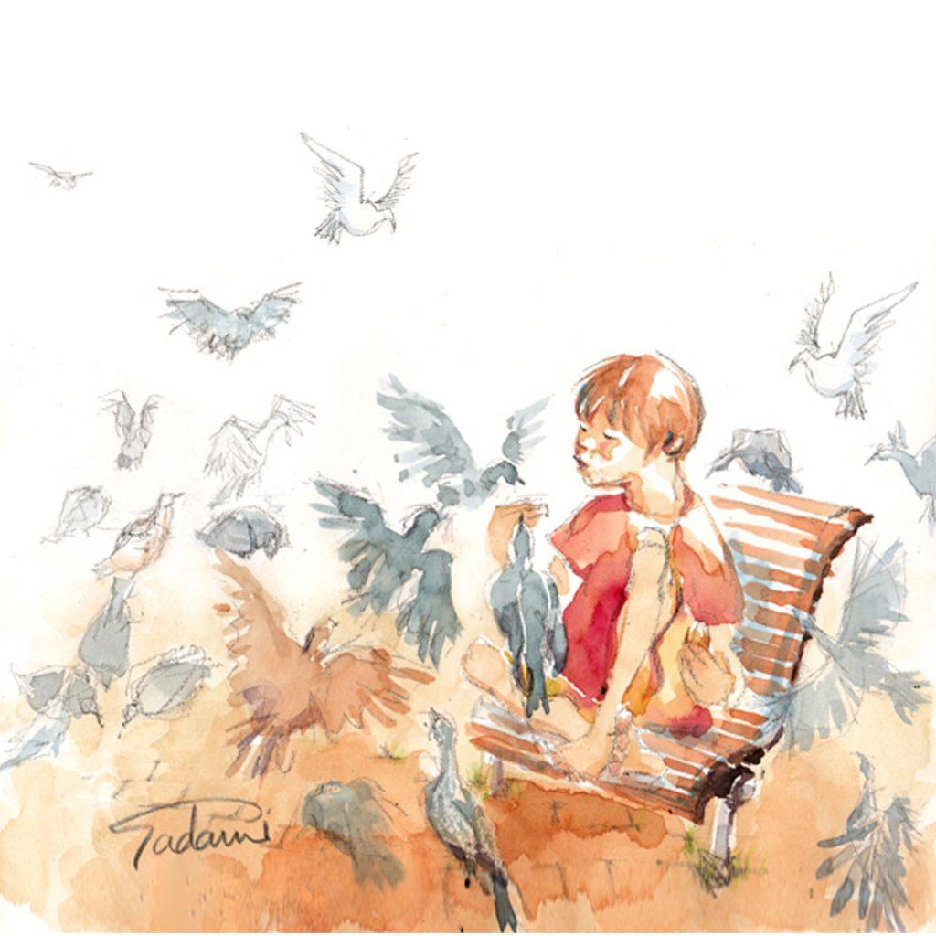 'A Girl Feeding Birds' by Sadami Konchi