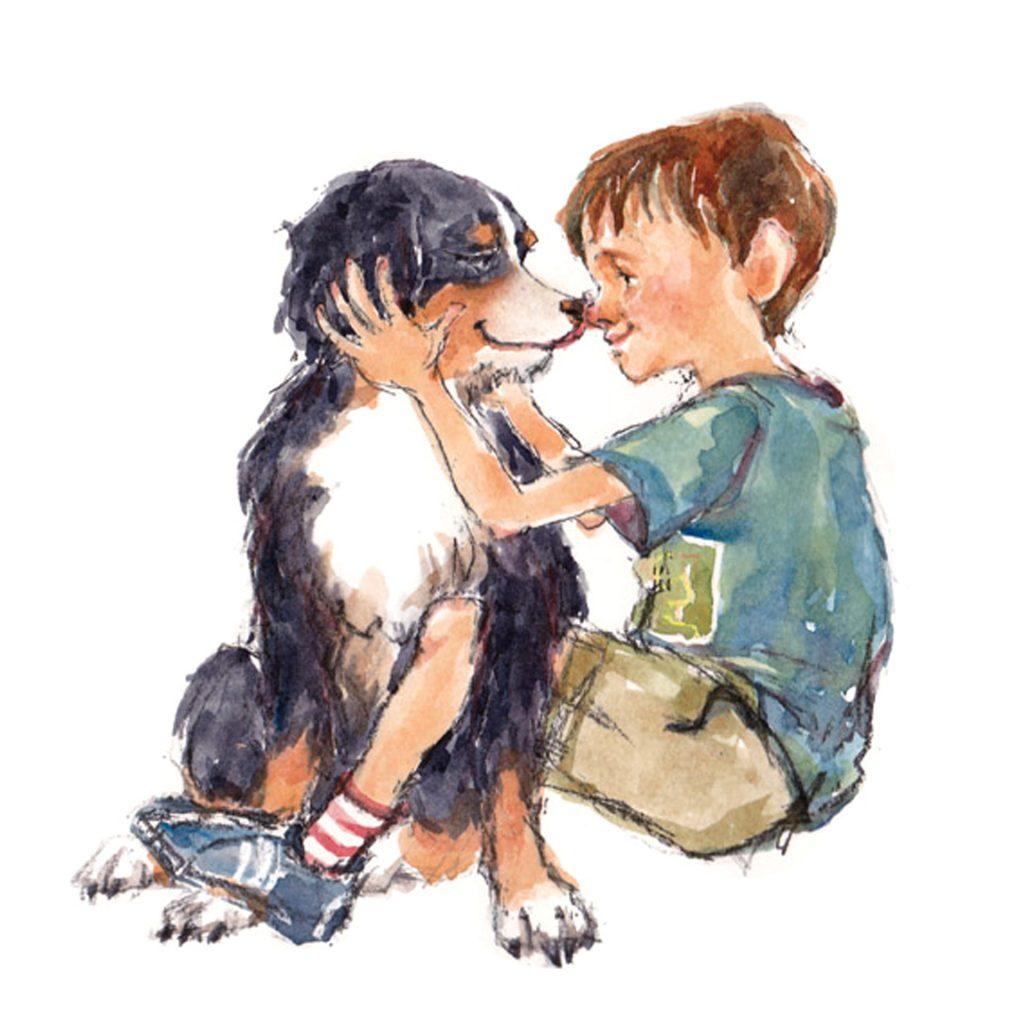 He's my best friend! p32 of 'My Dog Socks' illustrated by Sadami Konchi