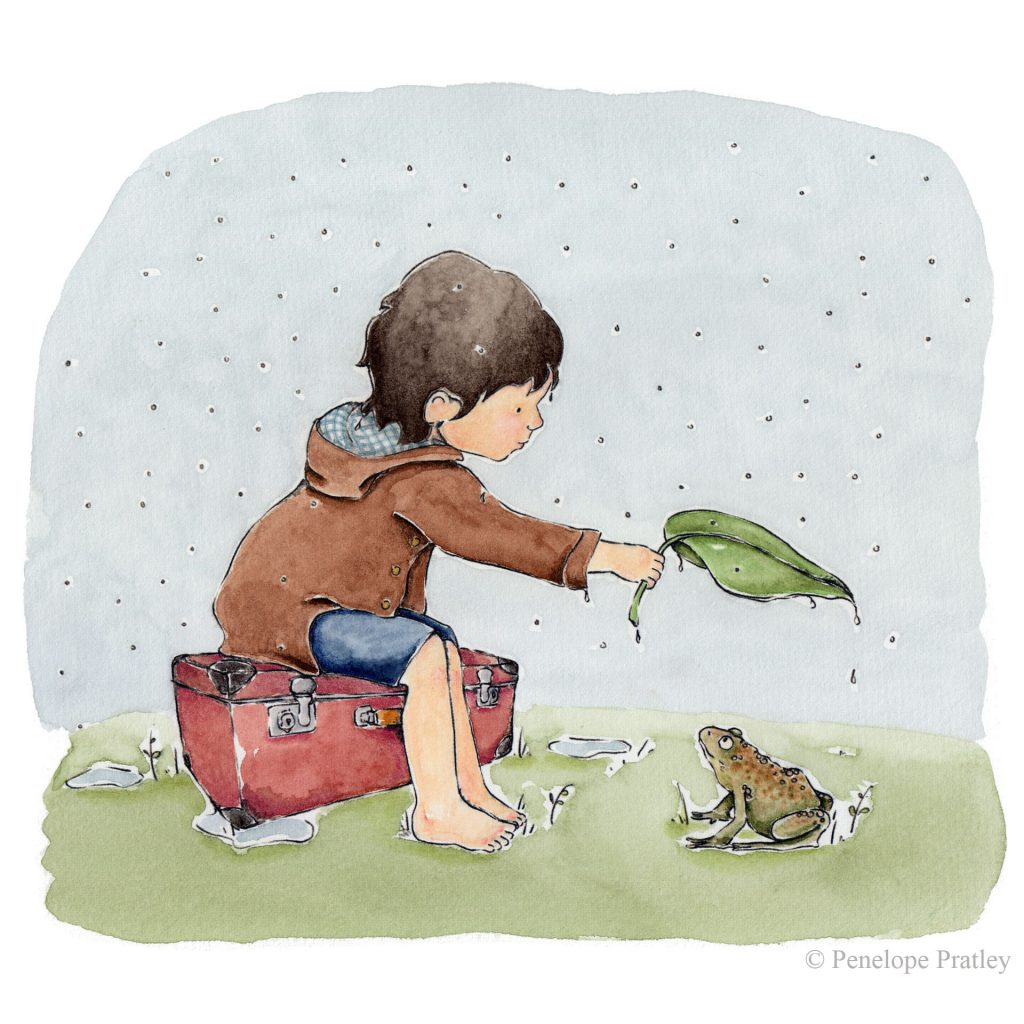 'Sitting in the rain' by Penelope Pratley