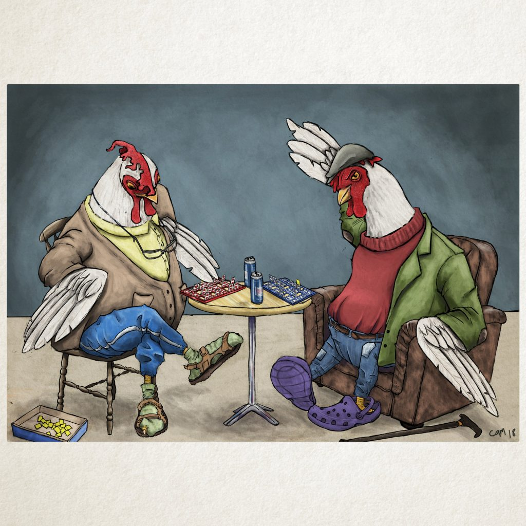 'Chickens playing Guess Who' by Cameron Shaw