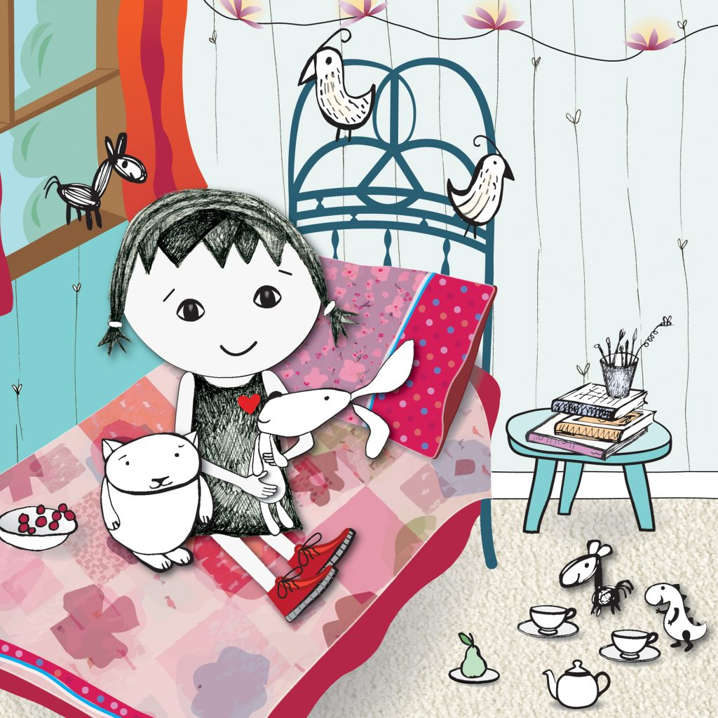 'Tissywoo in her bedroom' from Tissywoo and the Worry Monsters by Trish Donald