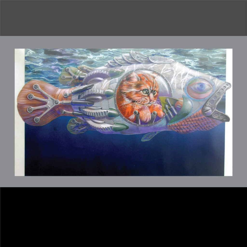 'Moggymarine - private gouache illustration' by Vincent de Gouw