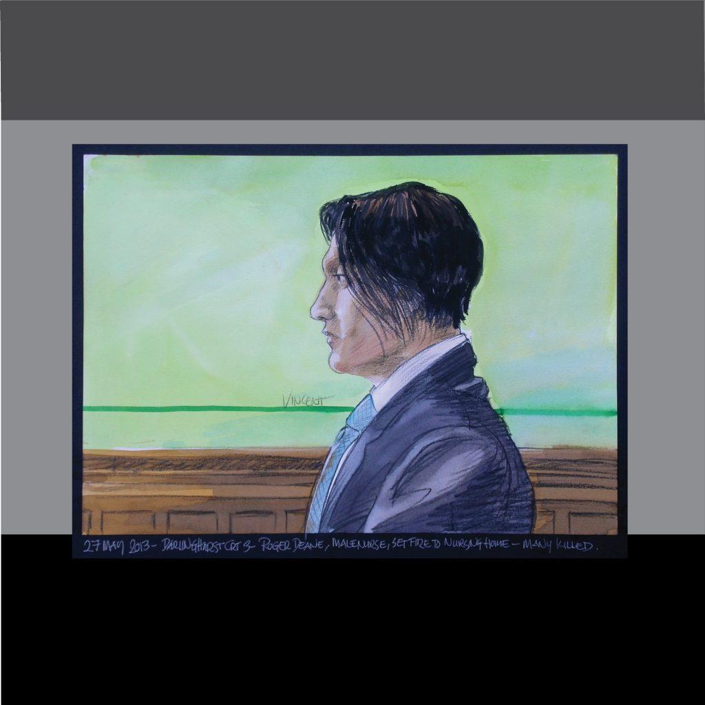 'Roger Deane - court art for TV news of nurse who set fire to a nursing home, killing several patients' by Vincent de Gouw