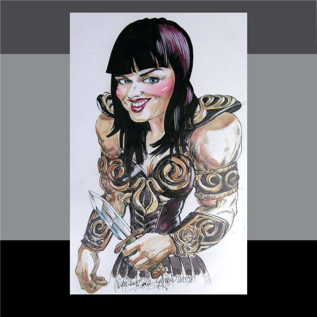 'Xena - Caricature for TV week magazine' by Vincent de Gouw