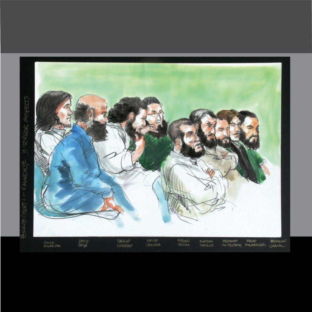 'Eight Terror suspects - court art for TV news broadcast' by Vincent de Gouw