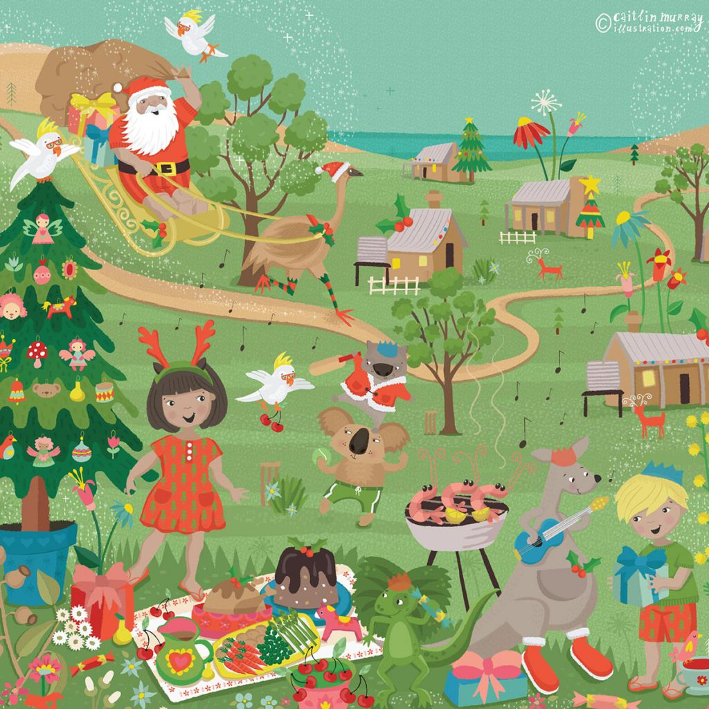 'Xmas in Oz' by Caitlin Murray, designed for Hippo Blue, 2016