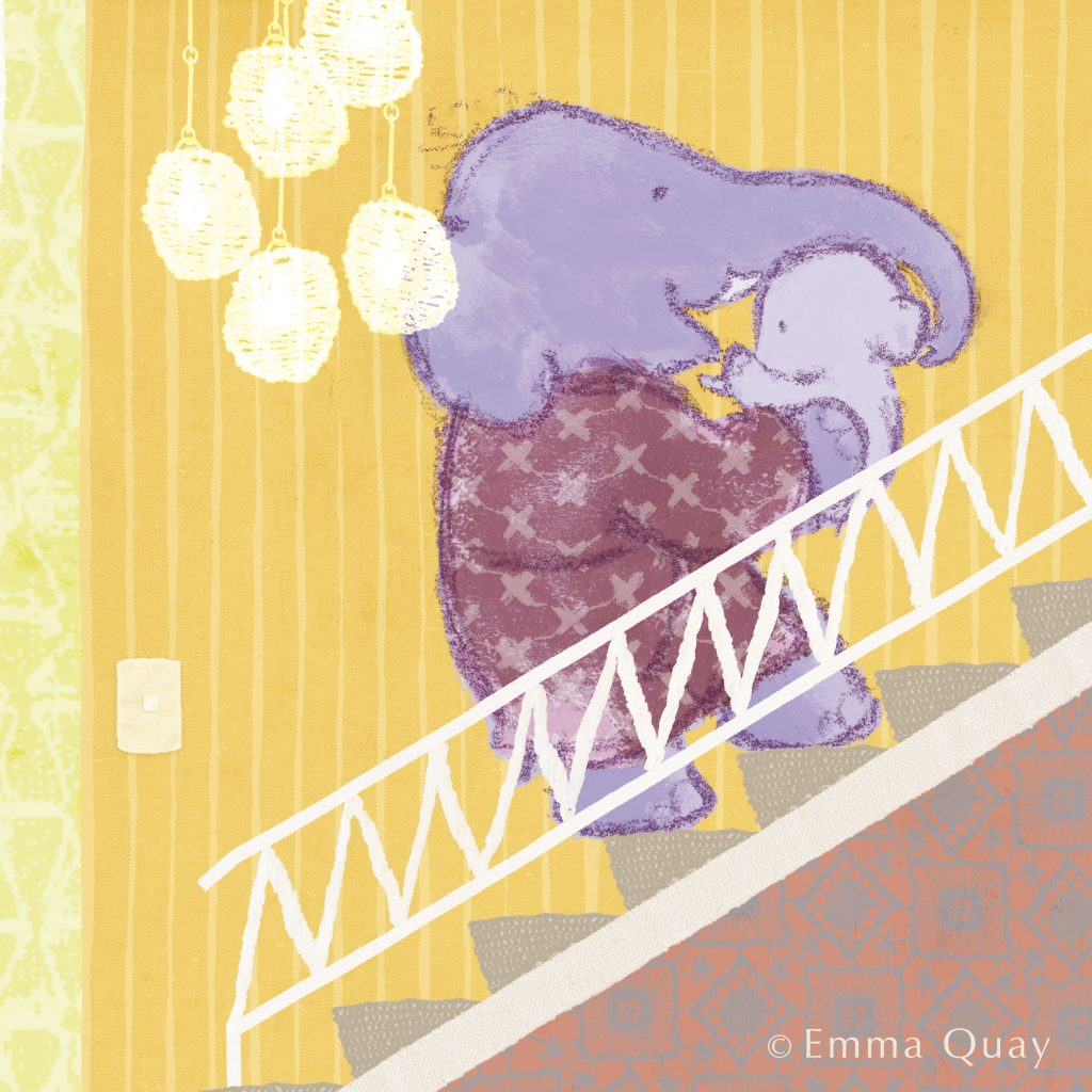 Up the stairs to bed, from 'Baby Bedtime', illustrated by Emma Quay