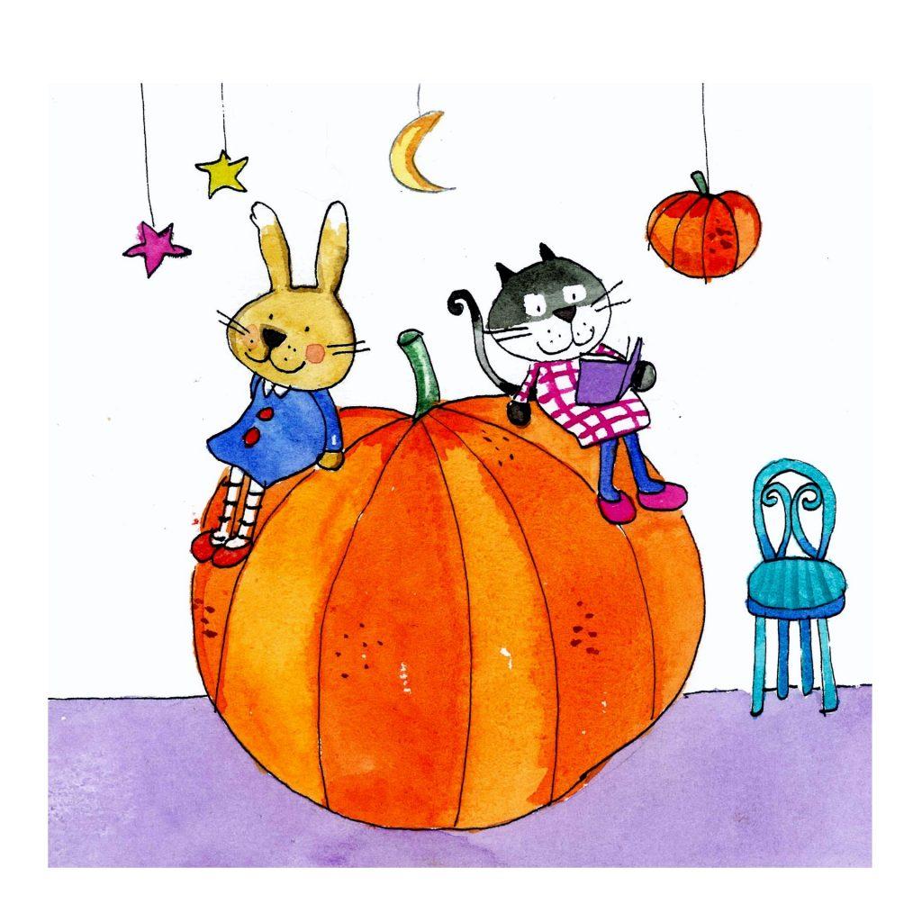 'reading on a pumpkin' by Emma Damon