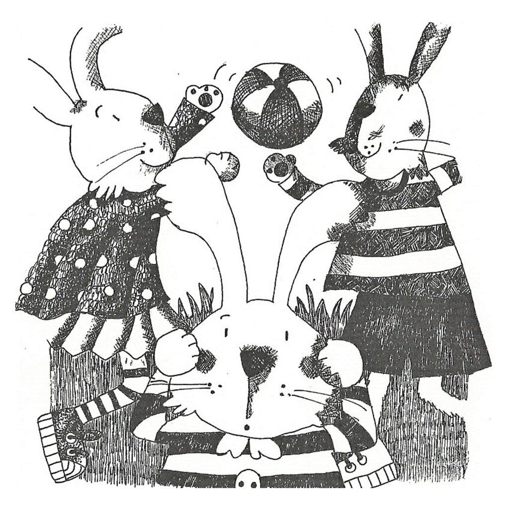 'rabbits playing ball' by Emma Damon
